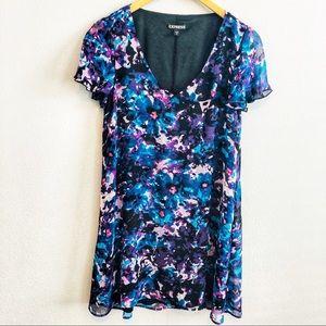 Express Floral Blue Shift Dress | Size S
